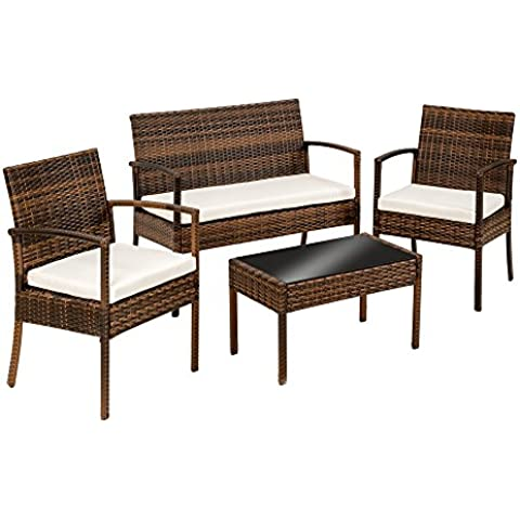 TecTake Conjunto muebles de Jardín en Poly Ratan Sintetico marrón - negro 4 plazas, 2 sillones, 1 mesa baja, 1