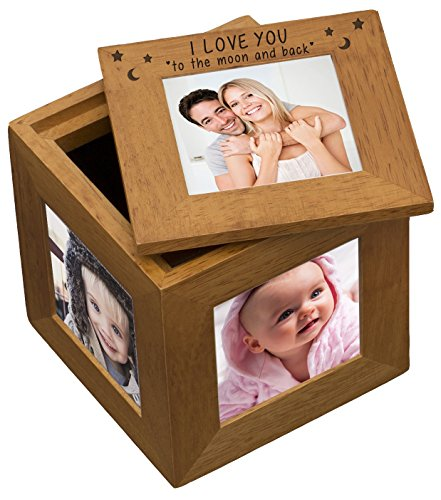 I LOVE YOU TO THE MOON AND BACK STARS & MOON Natural Oak Wooden MULTI PHOTO PICTURE CUBE Frame Romantic Gifts Presents for her him Valentines Mothers Day Birthday Christmas Boyfriend Girlfriend my Husband your Wife Wedding Anniversary Novelty Gift Present
