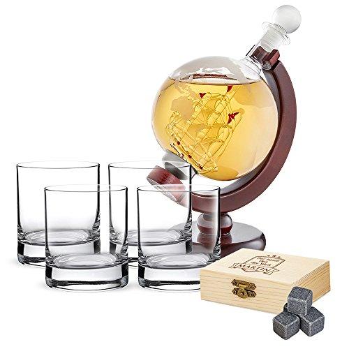 AMAVEL Whiskyset – Karaffe Globus – Vier Whiskygläser – Whiskysteine in Holzbox mit Gravur – Bester Opa – Personalisiert mit Namen – Whiskey Dekanter mit luftdichtem Verschluss – Vatertagsgeschenke