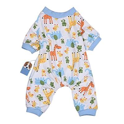 Oshide Cartoon Elephant Giraffes Pet Dog Pajamas Shirt Cozy Cotton Puppy Jumpsuit Clothes(5 Size Available)
