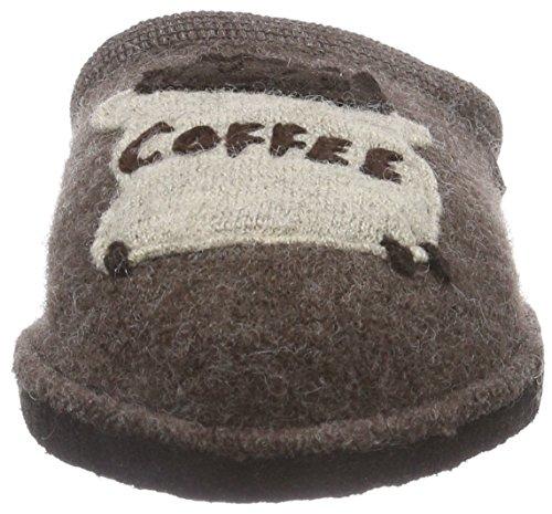 Haflinger - Cafe, Pantofole A Casa, unisex Marrone (63 braunmeliert)