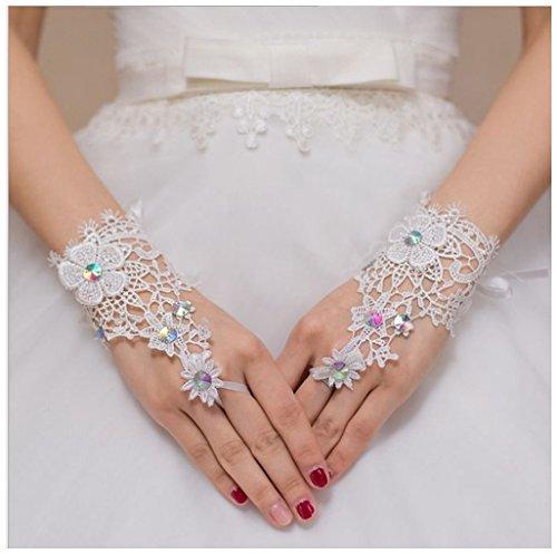 Etbotu Frauen Kurzes Elow Fingerless Spitze Rhinestone Hochzeit Handschuhe Weiß (Sexy Camo Outfits)