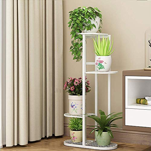Cretee Stehendes Blumenregal weißer Pflanzenregal Metall Blumentreppe 4 Stufen Blumenetagere (4-Tier 5 Pots)