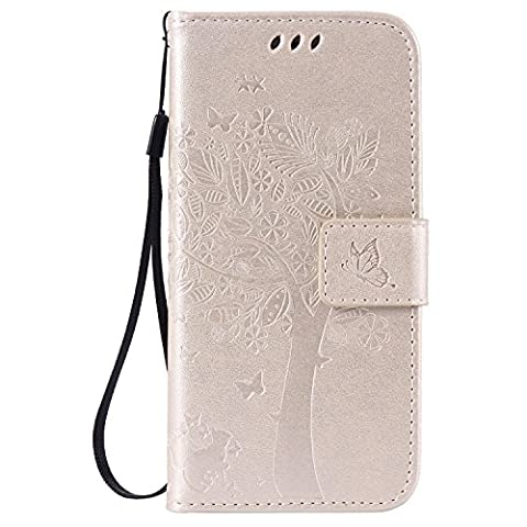 Coque pour iPhone 6 6S,Cozy Hut Coque PU Cuir Silicone Etui Housse de Protection Coque Étui Case Cover,Flip Wallet Housse Arbre Feuille Papillon Chat Motif Style Design Mode Bookstyle Case Porte Carte Cas Back Cover Souple Fonction Stand Spécial Magnetique Dustproof Protective Fente de Carte pour iPhone 6 6S (4,7 Zoll) - d'or