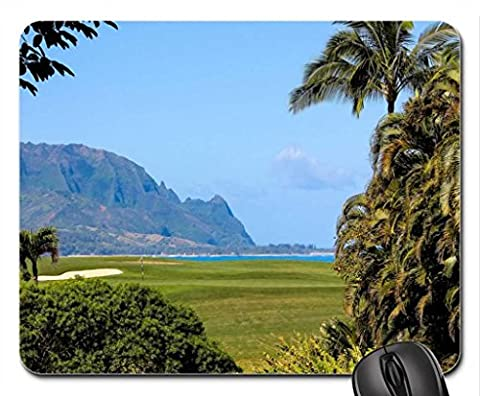 Princeville Ocean View Golf Course overlooking beach and cliffs Kauai Hawaii Mouse Pad, Mousepad (Beaches Mouse Pad)