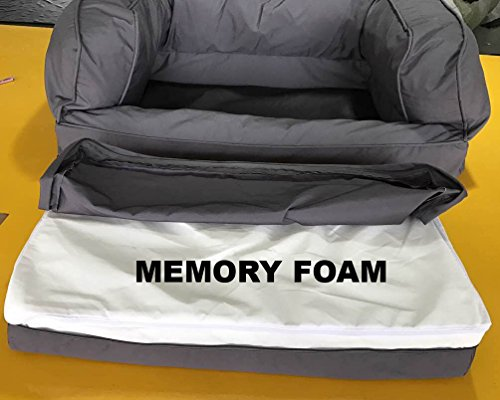 Memory Foam Dog Bed & Sofa (Large Gray, 100x70x35CM) Premium 10CM solid memory foam. Support your dog with even cushioning & maximum comfort