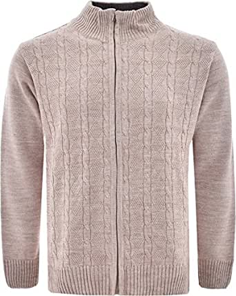Mens Knitted Cardigan Classic Style Zipper Jumper With ...