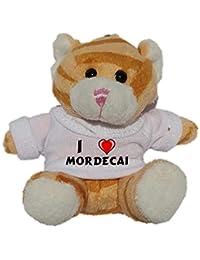 Gato marrón de peluche (llavero) con Amo Mordecai en la camiseta (nombre de pila/apellido/apodo)