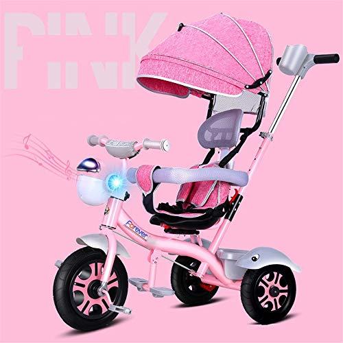 BESTSOON-TGT Trike per Bambini Ruote Triciclo per Bambini, con Impugnatura a Spinta e Telaio per Bambini da 1 a 6 Anni Misura da 6 Mesi a 6 Anni (Colore : Rosa, Dimensione : Taglia Unica)