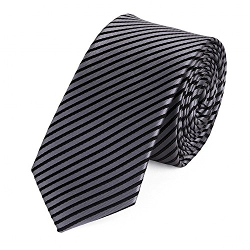 Fabio Farini klassische 6 cm Krawatte, für jeden Anlass in silber - grau mit feinen schwarzen Streifen (Krawatte Krawatte Schwarzer Streifen)