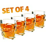 Iktu Skull Head 3D Clear Crystal 60ml. Whiskey Liquor Vodka Shot Glasses Shooters Barware, Set of 4pcs