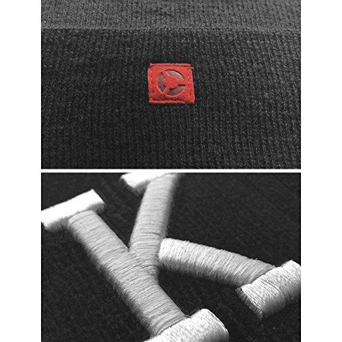 MasterDis Letter Cuff Knit Beanie Schwarz_341