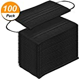 100 Pack Disposable Face Masks Breathable Dust Filter Masks Mouth Cover Masks with Elastic Ear Loop (Black)