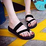 Summer Flip Flops, Bestoppen Women Fashion Flat Ankel Open Toe Slippers Flip Flops Ladies Casual Round Toe Wedge Non-slip Shower Slippers Slip On Beach Loafer Sandals Shoes Size 3-5 (EU:38, Black)