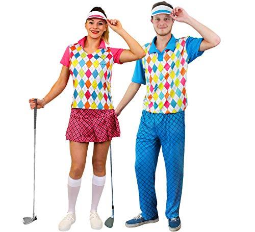 Party Paare Kostüm - ILOVEFANCYDRESS Paare Golfer KOSTÜM VERKLEIDUNG=KOSTÜME SIND 3 TEILIG =100% Polyester=Frau*ROSA+Mann*BLAU=GRÖSSEN Siehe Detail=Fasching Party SIE+IHN=Frauen-Large+MÄNNER-XLarge
