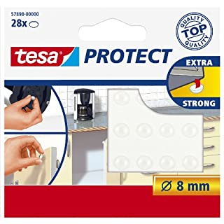 tesa UK Protect Self Adhesive Door And Drawer Protection Pads Round - Clear