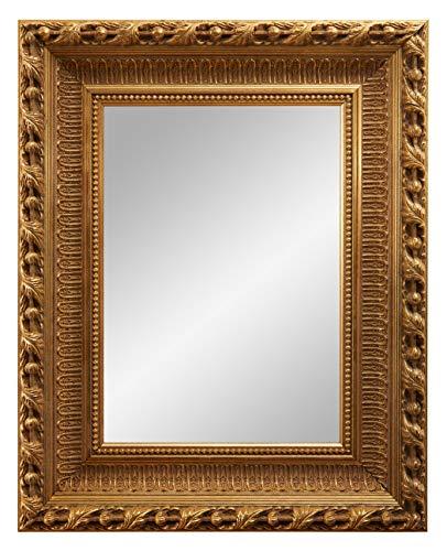 Framo 'N°13' Barock Wandspiegel 30x160 cm mit Echtholz Rahmen (Design: Antik Gold), Retro antik Vintage Spiegelrahmen inkl. Spiegel und Stabiler Rückwand mit Aufhängern