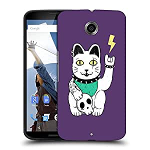 Snoogg Cat With Skull Designer Protective Back Case Cover For MOTOROLA NEXUS 6