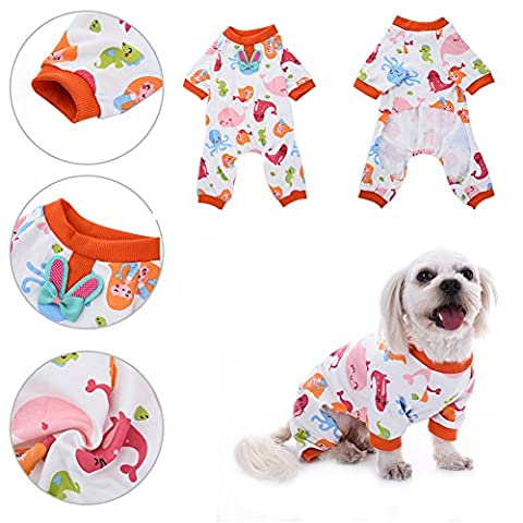 Pet Dog Mermaid Pattern Pyjamas en coton Loisirs et robes d'animal domestique durable Vêtements de repos pour animaux de compagnie Cozy Puppy Doggy Home Wear par Awhao XS