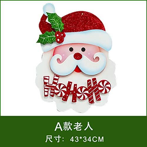 HAPPYLR Weihnachtsschmuck Papier Weihnachtsmann Schneemann Ornamente 3D Dreidimensionale Aufkleber Fensteraufkleber Weihnachten Tür Hängen, EIN Abschnitt Alter Mann -