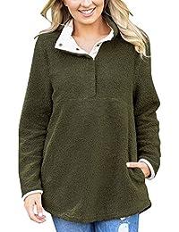 Roskiky Lässiger Fleece Pullover mit Lange Ärmel und Stehkragen