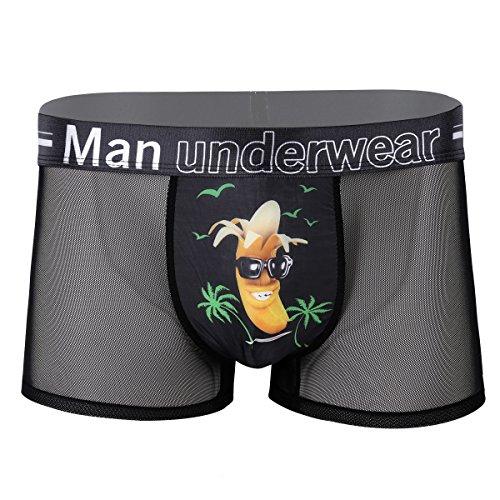 iiniim Herren Boxershorts Transparent Männer Hipster Boxer Briefs Elastische Unterwäsche Unterhose mit 3D Druck L-XXXL Schwarz Banane L (Briefs Boxer Hipster)