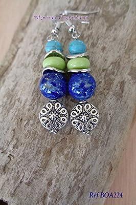 Boucles d'oreilles crochets acier inoxydable, lapis lazuli véritables, rondelles howlite turquoise et verre vert anis BOA224