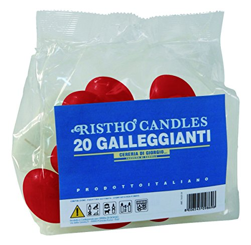 Cereria di giorgio risthò candele galleggianti, cera, rosso, 4.5x4.5x2.5 cm, 20 unità