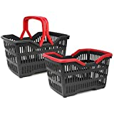 com-four® shopping basket with handles/handle, sturdy plastic basket in various sizes and colors