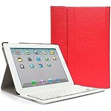 iPad 2 3 4 Funda con Teclado Bluetooth ,CoastaCloud iPad 2/3/4 Funda Cubierta Protectora con Teclado Inalambrico QWERTY Español para Apple iPad 2 (A1395 A1396 A1397) ; iPad 3 (A1416 A1430 A1403); iPad 4 (A1458 A1459 A1460)Rojo