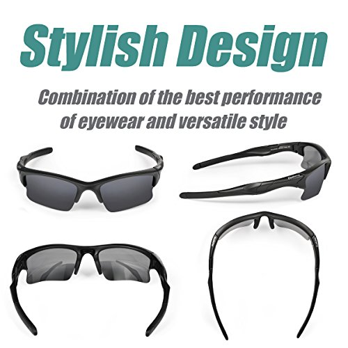 Duduma Polarisierte Sportbrille Sonnenbrille Fahrradbrille mit UV400 Schutz für Damen & Herren Autofahren Laufen Radfahren Angeln Golf TR90 (Grau Matt Rahmen mit Schwarz Linse) - 2