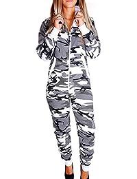 RMK Damen kuscheliger Jumpsuit Sweat Jogging-Anzug Jogger Einteiler Overall Schlafanzug Strampler Ganzkörperanzug