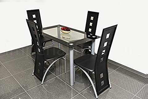 MODERN GLASS DINING TABLE SET BLACK OR WHITE WITH 4/6 FAUX LEATHER CHAIRS NEW (Black, Small - Set of 4 Chairs Plus Table)