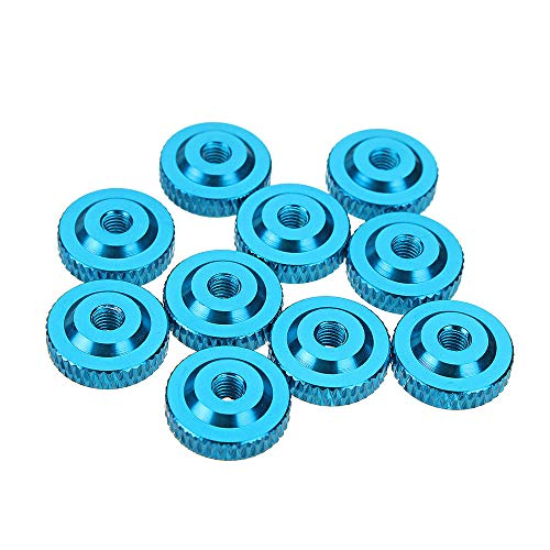 DyNamic Suleve M3An12 10Pcs M3 Knurled Thumb Nut W/Collar Screw Spacer Washer Aluminum Alloy Multicolor - Hellblau -