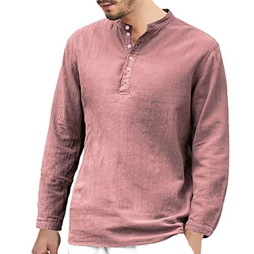 Cotone e Lino Manica Lunga Maglietta LandFox Tinta Unita Slim Fit Cotone T-Shirt Maglietta...