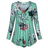 Zegeey Damen Plus Size Long Sleeve Print V-Neck Button Pullover Tops Shirt Bluse Langarm Karneval Fasching Fasnacht Cocktailkleider Partykleid