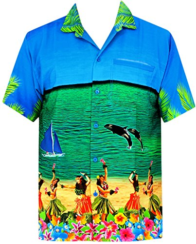 LA LEELA Strand Hawaiihemd Herren XS - 5XL Kurzarm Front-Tasche Hawaii-Print Casual Button Down Hemd Blue Blau