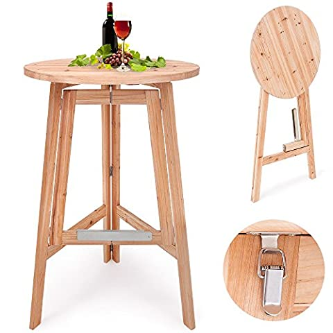 Bar Table Folding Wooden Diameter 78 cm Bistro / Bar