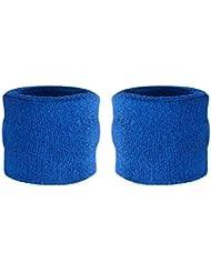 Suddora - Muñequeras para niños, muñequeras de tejido rizado de algodón atléticas para deportes (par)., azul