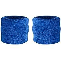 Suddora polsini assorbi sudore per bambini, in cotone e spugna, polsini per sport (1 paio), Blue