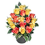 Ligne Déco 461315WO Fleurs Artificielles Funéraires en pot lesté - Composition de Boutons de Roses et Gypso 38 cm