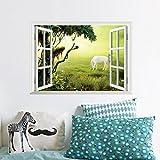 Stickerkoenig Wandsticker Fenster mit Pferd Motiv Wandtattoo Deko Aufkleber Kinderzimmer 3D Effekt Frühling Sommer Dekoration