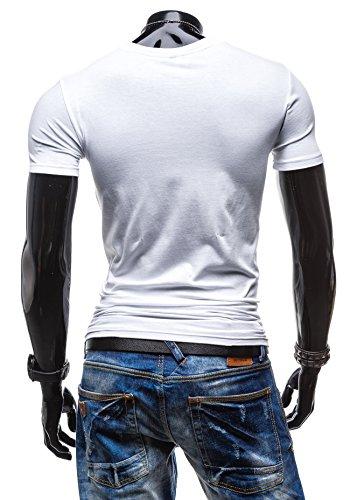 BOLF Herren T-shirt Figurbetont Kurzarm Slim Fit Basic Party Print [3C3] Weiß