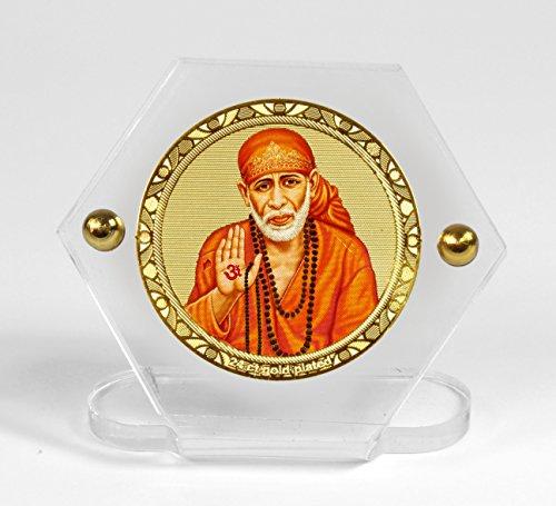 Eknoor Car Dashboard Idol- Goldplated Hexa-Sai Baba ji with japa mala (Prayer Beads)