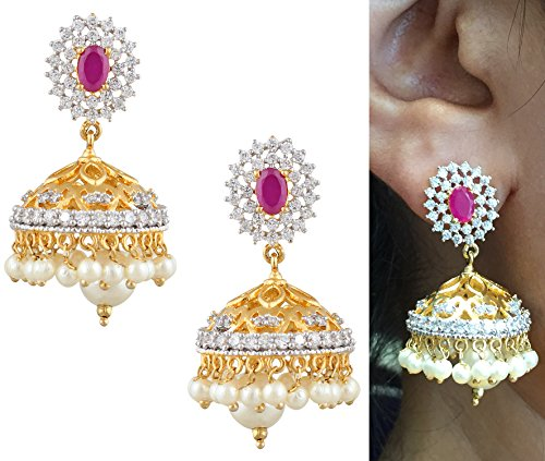 swasti-jewels-cz-zircon-fashion-jewelry-traditional-pearls-jhumka-earrings-for-women-red