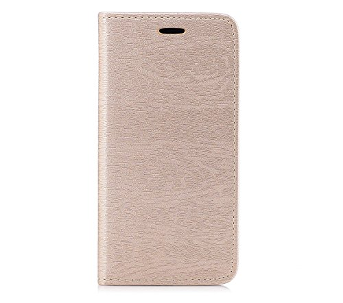 Per iPhone 6 Plus / iPhone 6s Plus Cover , YIGA Tree texture grigio Retro Modello Design Con Book style Internamente Silicone TPU Cover Flip Funzionalità di Supporto cuoio Case in Premium pelle Protet sw-gold