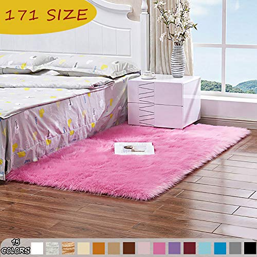 MODKOY alfombras Infantiles niña Redondas Lavable Tejidas Shaggy Ultra Suaves Lana Piel Sintética...