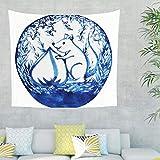 Charzee Eichhörnchen Kastanie Wandtuch Berg Wandbehang Blau Weiß Picnic Beach Sheet Yoga Mat, Home Dekor für Wohnzimmer Dekor drakblack 100x150cm