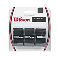 Wilson Unisex Adult 2-WRZ403000 Ultra Grip Wrap Bk - Black, One Size (Pack of 3)