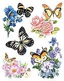 dpr. Fensterbild Set 5-teilig Schmetterlinge Blumen Rosen u.a. Fenstersticker Fensterdeko